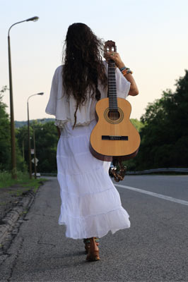 white dress with guitar